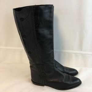 Zodiac Black Leather Tall Boots Women's Size 9 M